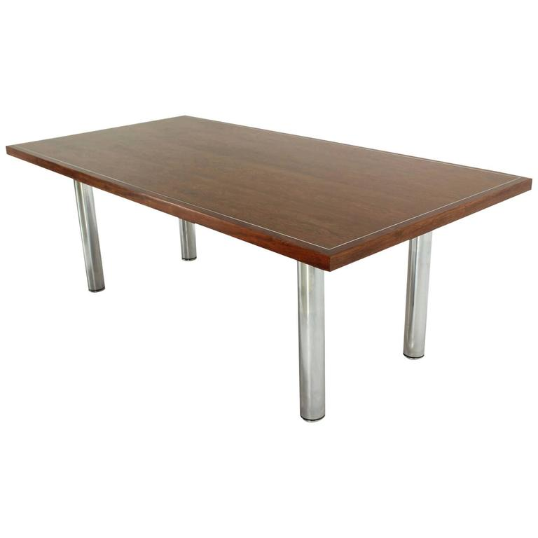 Rosewood and Chrome Conference Dining Table