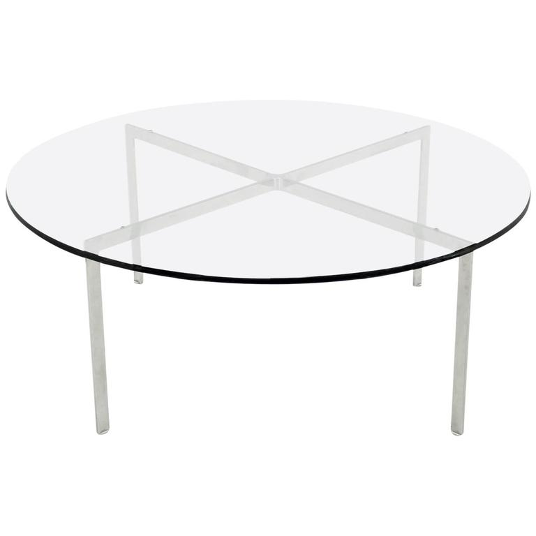 Incroyable Mid Century Modern Chrome X Base Thick Round Glass Top Coffee Table For Sale