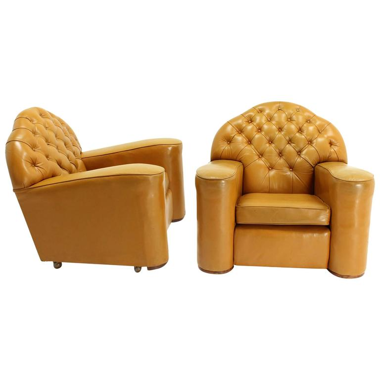 Pair of Large Oversize Tufted Chesterfield Leather Lounge Club Chairs