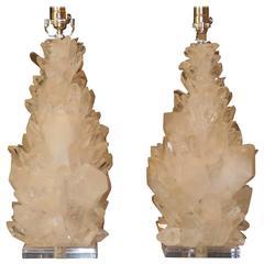 Pair of Rock Crystal Table Lamp