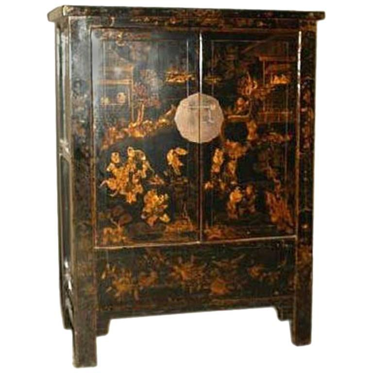 Black Lacquer Cabinet with Gold Gilt Motif