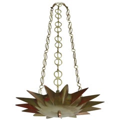 French Mid-Century Modern Neoclassical Gilt Bronze Sunburst Pendant / Chandelier