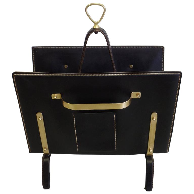 French Hand-Stitched Leather Magazine Stand by Jacques Adnet For Sale