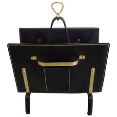 French Hand-Stitched Leather Magazine Stand by Jacques Adnet