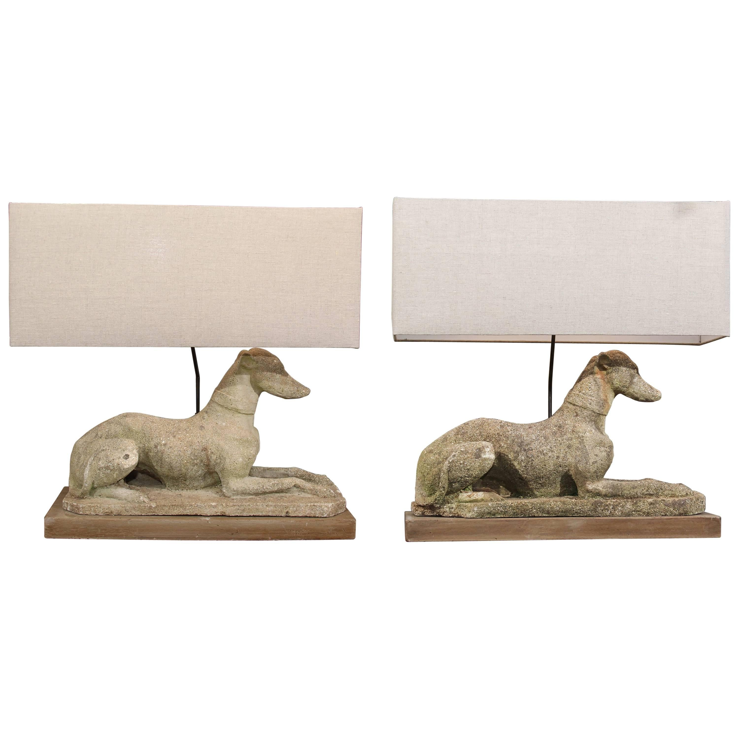 Grand Pair of Antique English Dogs with Custom Base and Linen Shades