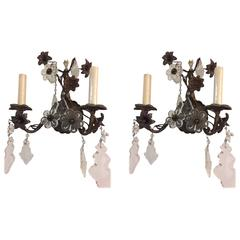 Sconces with Glass Flowers