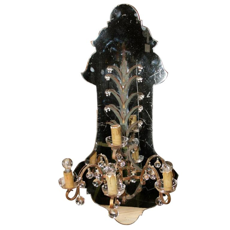 Large French Medallion Shaped Mirrored Sconce For Sale