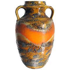 Large-Scaled West German, 1960s Orange and Ochre Painted Lava-Glazed Urn