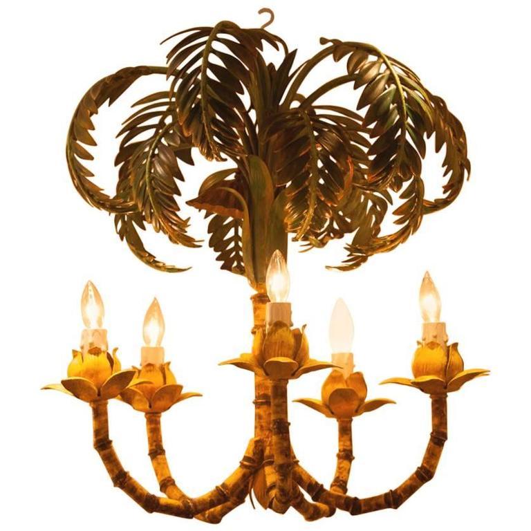 Maison Jansen Style Palm Chandelier