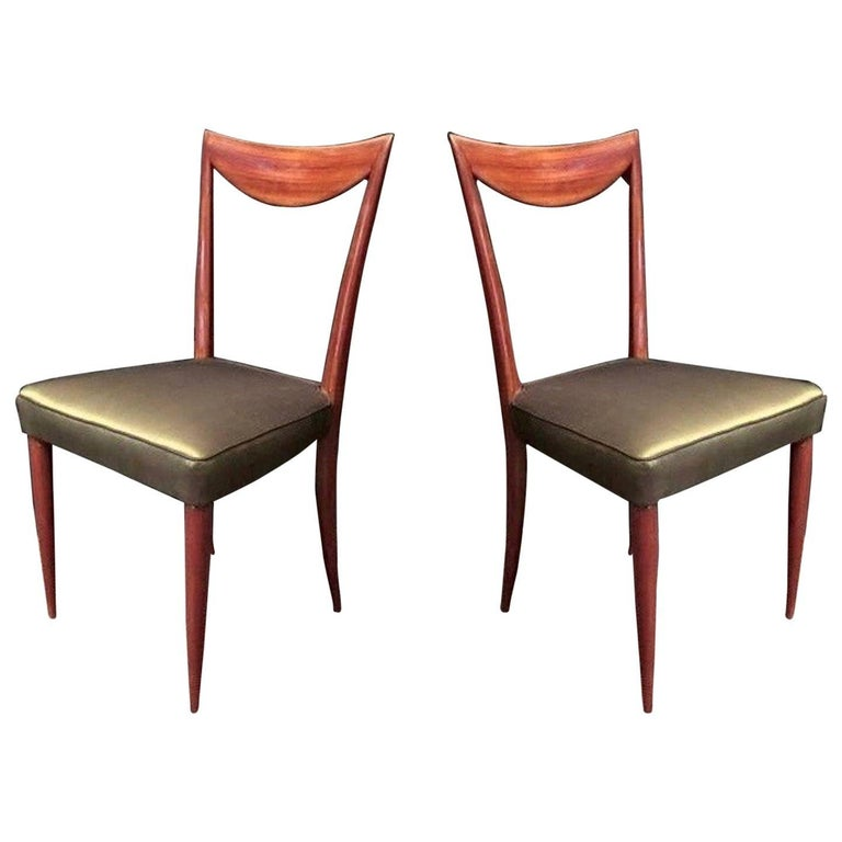 Pair of 1950s Mahogany and Silk Italian Side Chairs