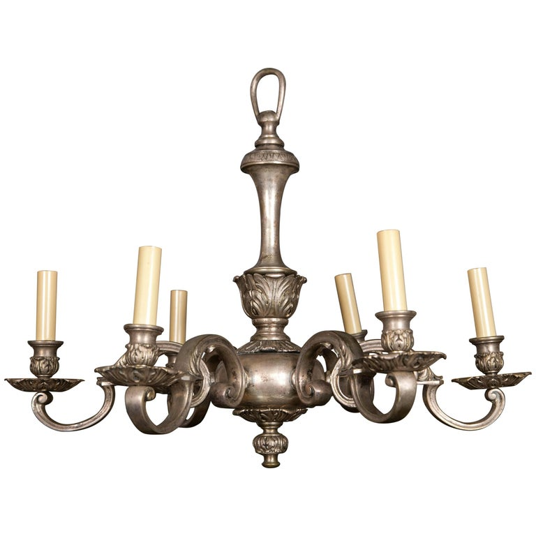 Silver Plated, Cast Bronze Chandelier For Sale
