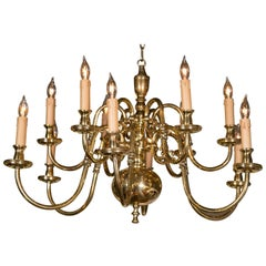 Cast Brass Two-Tier Chandelier