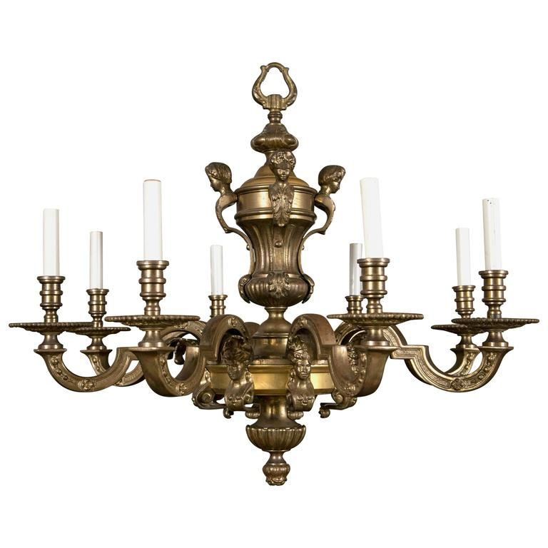 Cast Bronze Electrified Chandelier For Sale At 1stdibs