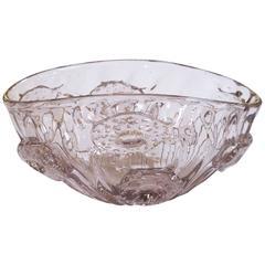 Shimmering Murano Mid-Century Oblong Amethyst Colored Art Glass Bowl