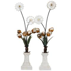 Pair of Rock Crystal Art Deco Style Decorative Flower Arrangement