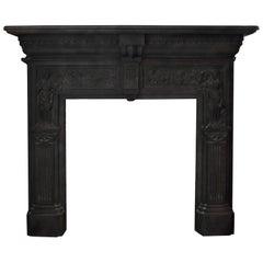 English Cast Iron Peace and Plenty Fireplace Mantel