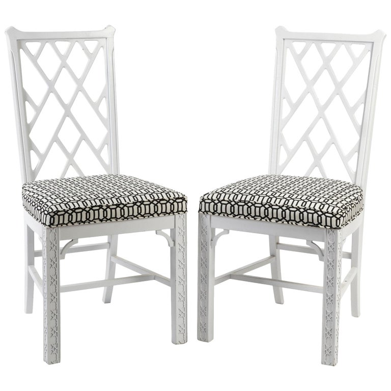Chinese Chippendale-Style Chairs, Pair For Sale