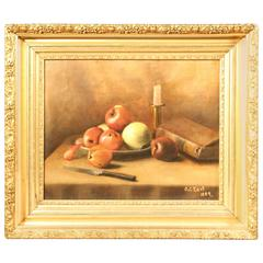 19th Century Oil on Canvas Still Life of Fruit
