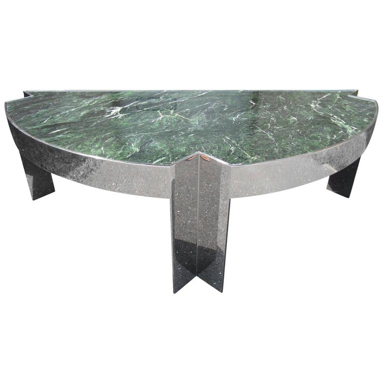 Sculptural 1970s Leon Rosen for Pace Collection Steel and Marble Desk