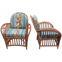 Vintage Pair of Rattan Lounge Chairs
