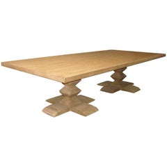 Custom Table With Two Pyramid Pedestals in Cerused Oak by Dos Gallos Studio