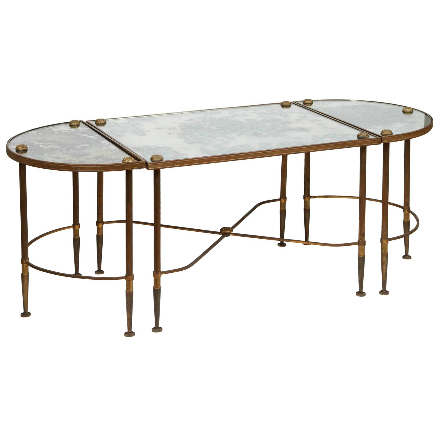 3 Piece Oval Coffee Table Set: Bronze Three Piece Oval Table At 1stdibs