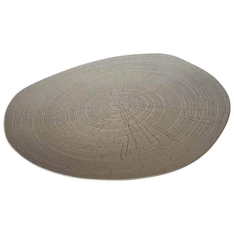Handmade Fine Ceramic Grey Birch Motif Platter, Italy, Contemporary For Sale