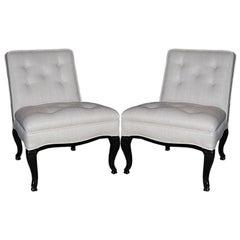 Pair of Classic Slipper Chairs in Tussah Silk
