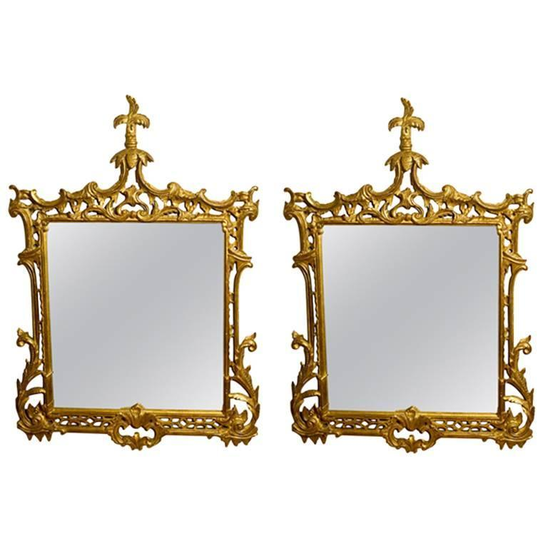 Pair of Gilt Regency Style Chinoiserie Mirrors