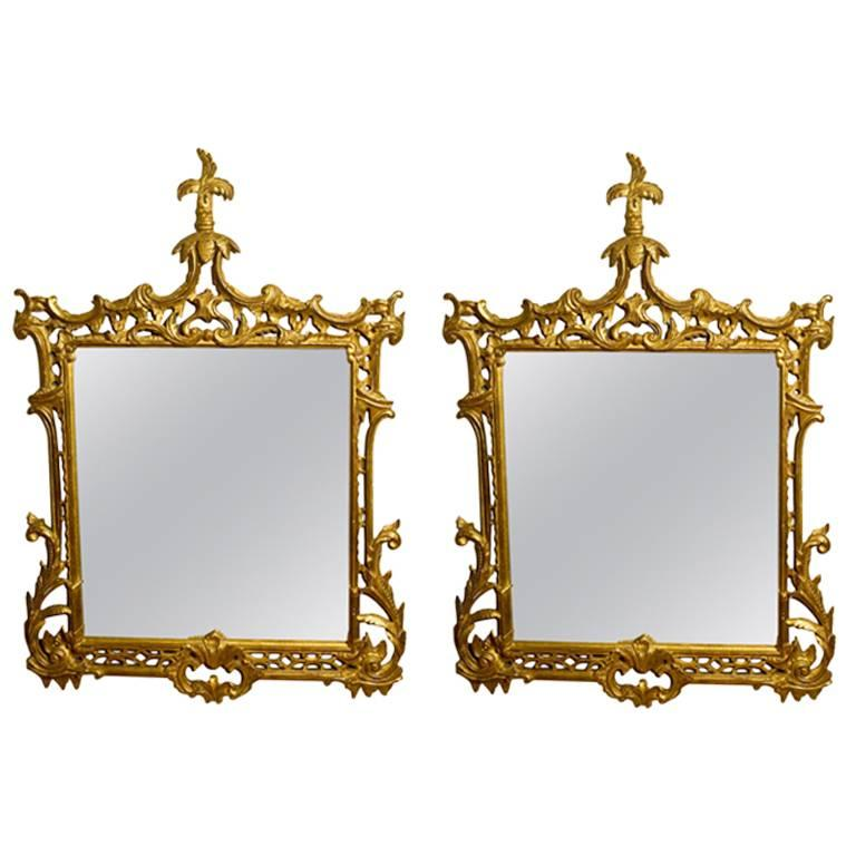 Pair Of Gilt Regency Style Chinoiserie Mirrors For Sale At