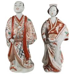 Pair of Antique Japanese Porcelain Figures of Kabuki Actors
