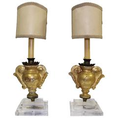 Pair of 18th Century Gilded French Fragments Converted to Lamps