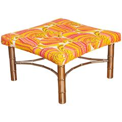 Faux Bamboo Ottoman with Chrome Legs and Stretcher in Emilio Pucci Fabric
