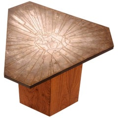 Italian Etched Brass Side Table by G. Urso