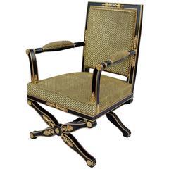 Empire Style X-Frame Black Lacquer Armchair, circa 1900