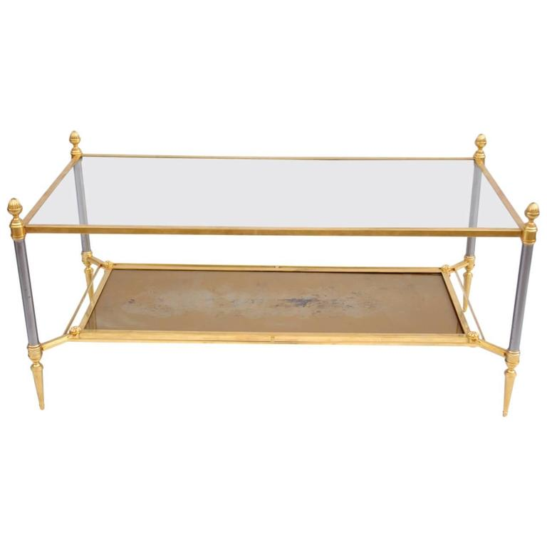 Maison Jansen Gilt Brass and Glass Coffee Table from 1960