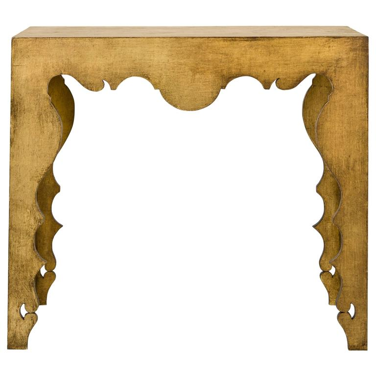 Tara Shaw Maison Rococo Console Table in Gold Leaf For Sale