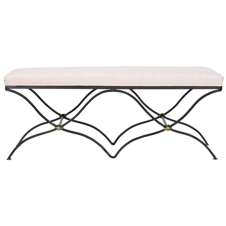 Tara Shaw Maison Iron Two-Seat Bench in Belgian Linen