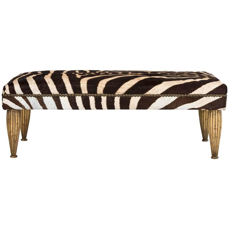 Tara Shaw Maison Zebra Bench with Gold Leaf For Sale