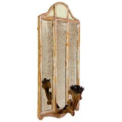 Italian Mirror with Sconce with Applique