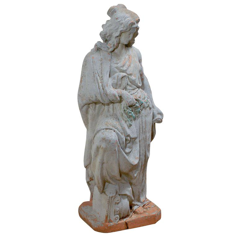 19th Century Large English Terracotta Garden Statue, Old Surfaces For Sale