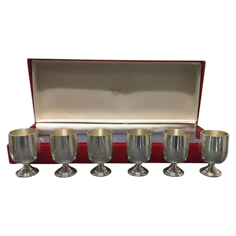 Set of Six Small Sterling Silver Cups by Cartier