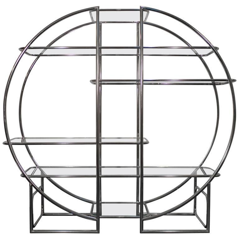 Chrome Circular Etagere in the Style of Milo Baughman