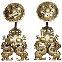 Striking Pair of Arts and Crafts Andirons