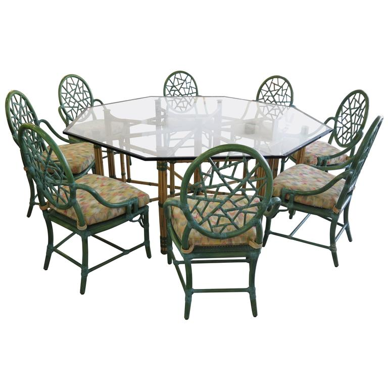 McGuire Dining Table & Eight Arm Chairs For Sale