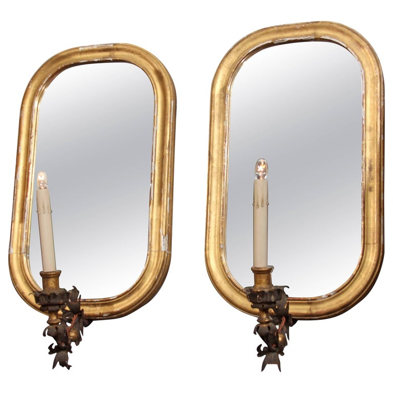Pair of Mirror Sconces For Sale
