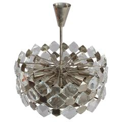 Faceted Crystal Glass Hanging Chandelier Bakalowits and Söhne, Vienna, 1960