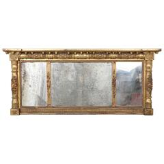Overmantel Federal Gilt Gesso Mirror/Three Parts with Acorn Drops