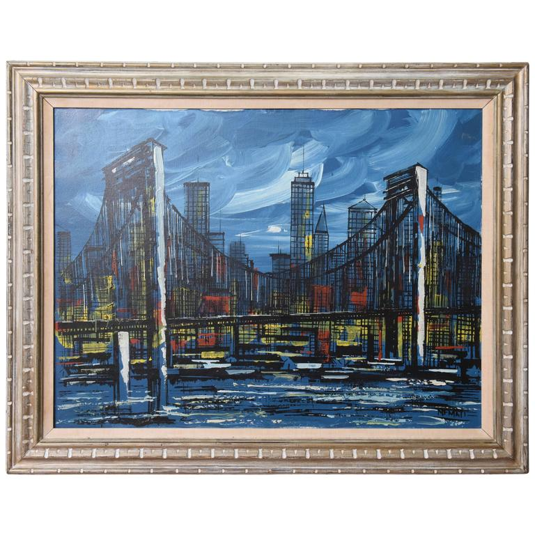 Signed Mid-Century Oil Painting of New York City For Sale
