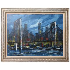 Signed Mid-Century Oil Painting of New York City